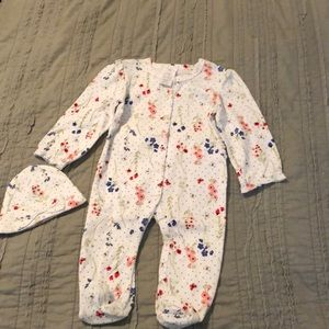 Laura Ashley baby footed pajamas and hat